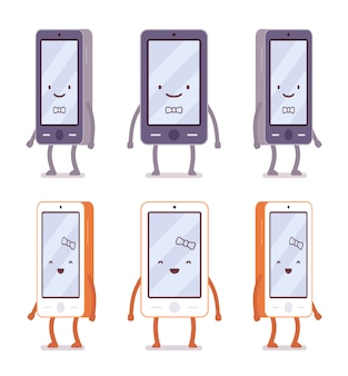 さまざまな側面から笑顔の男の子と女の子のスマートフォン