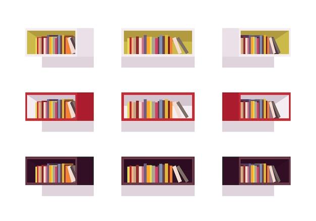 レトロな長方形の本棚のセット
