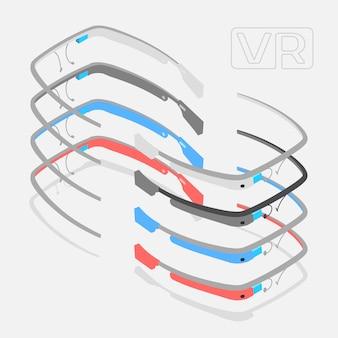 異なる色の等尺性拡張現実感メガネ。オブジェクトは白い背景に対して分離され、さまざまな側面から表示されます
