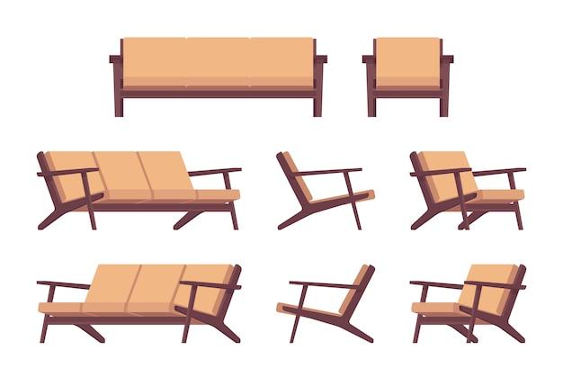 レトロなクリーム色のソファとアームチェアのセット