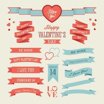 青と赤のバレンタインデーのリボンのセット
