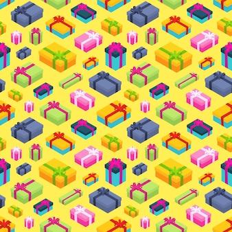 Бесшовные с изометрической цветными подарочными коробками