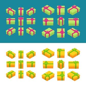 等尺性色のギフトボックスのセットです。オブジェクトは分離され、さまざまな側面から見られます