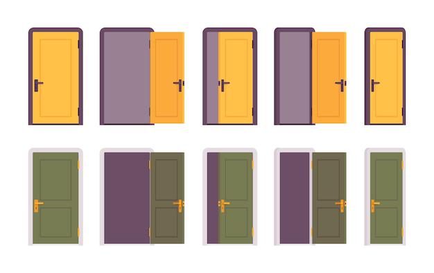 黄色と緑のドアのセット