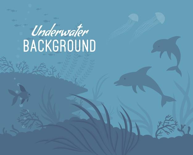 イルカと水中背景テンプレート