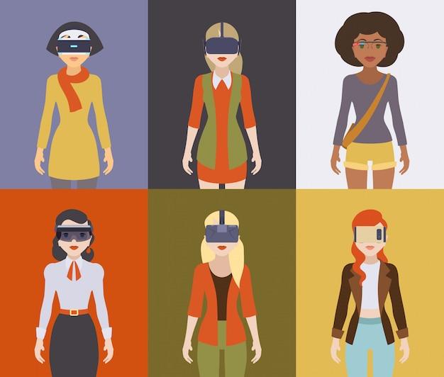 仮想現実ヘッドセットの女性