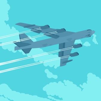 雲と青い空を背景に激しい爆撃機。広告宣伝に適したイラスト