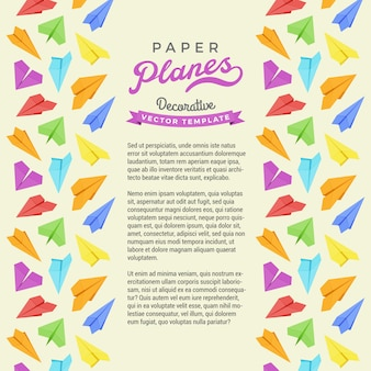 フレームに紙飛行機で作られた装飾