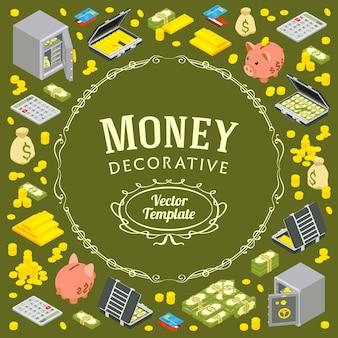 金融関連のオブジェクトで作られた装飾
