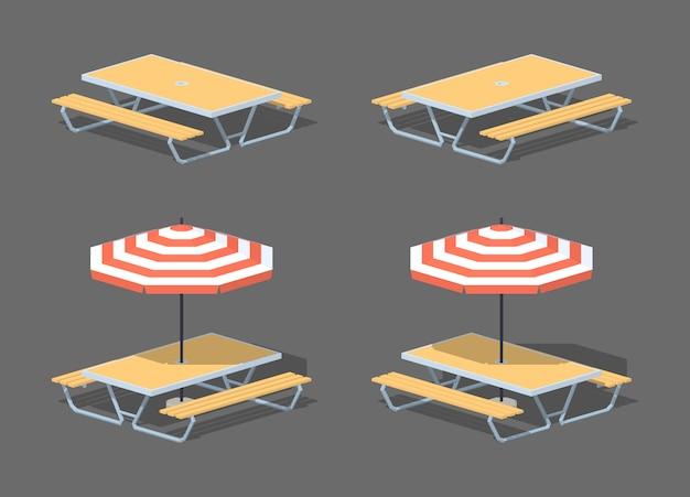 Низкополигональный столик в кафе с зонтиком от солнца