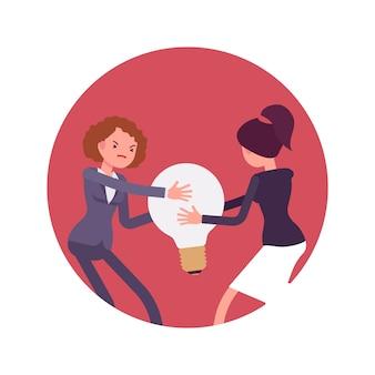 ランプの電球やアイデアを求める女性同士の闘い