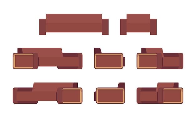 Набор современного шоколадного дивана и кресла