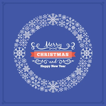 クリスマスグリーティングカード雪片