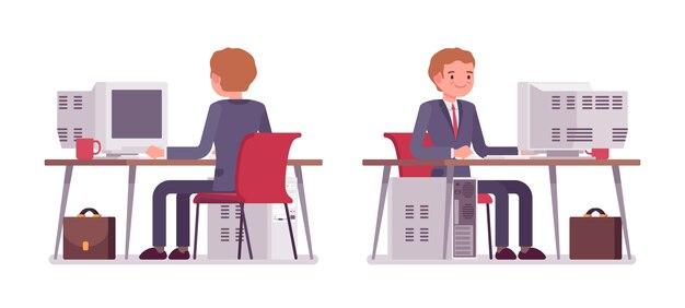 コンピューター、背面および正面で働く青年実業家