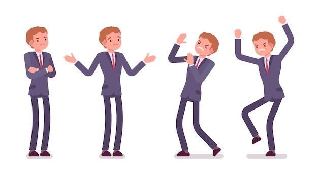 Комплект молодого стоящего бизнесмена показывая отрицательные эмоции, различные представления