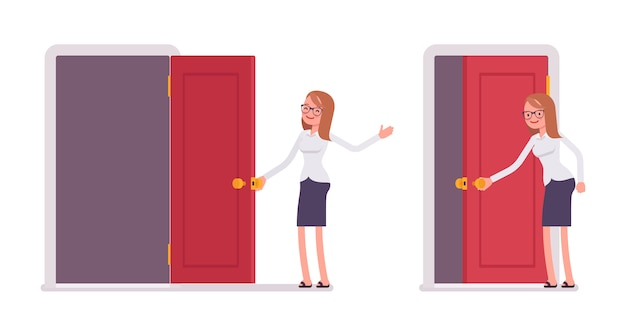 赤いドアを開くと歓迎の若い笑顔の女性店員