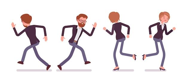 Набор молодых улыбающихся бегущих мужчин и женщин, менеджер