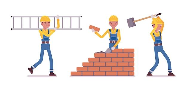 男性の建設労働者のセット