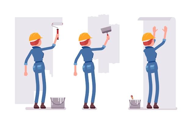 壁を扱う女性労働者のセット