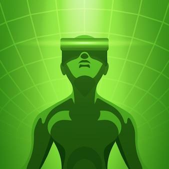 仮想現実のヘッドセットの男
