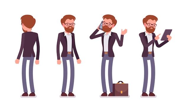 立ちポーズ、背面、正面の男性マネージャーのセット