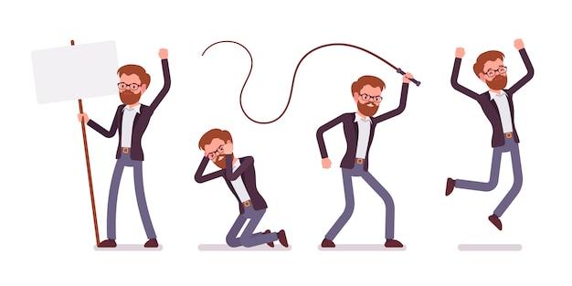 Набор молодой мужской менеджер, выражающий эмоции, аффективное состояние