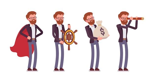 異なるビジネス画像で若い男性のハンサムなマネージャーのセット
