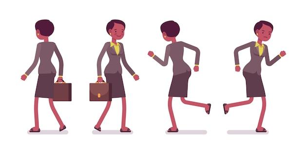 Комплект учительницы ходьбе и бегу, вид сзади, вид спереди