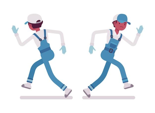 男性用務員ランニング、背面および正面図