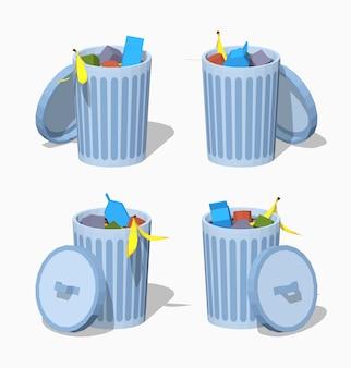 Низкополигональная корзина для мусора