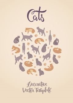 Шаблон украшения с кошками