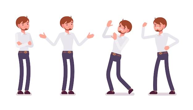 Набор молодой мужской клерк, показывая отрицательные эмоции вид спереди