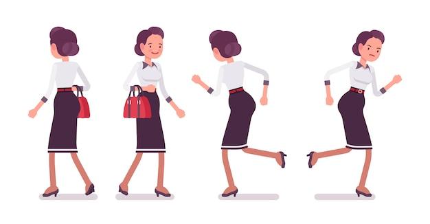 Набор молодой привлекательной секретарши бега, вид сзади, вид спереди