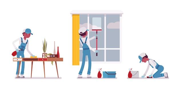 男性の用務員が屋内で拭く