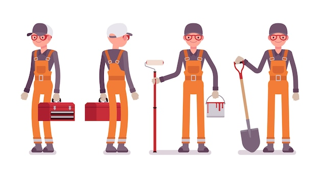 全体的に明るいオレンジ色の男性労働者のセット