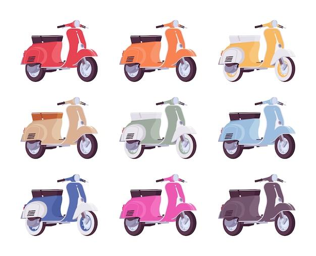 異なる色のスクーターのセット