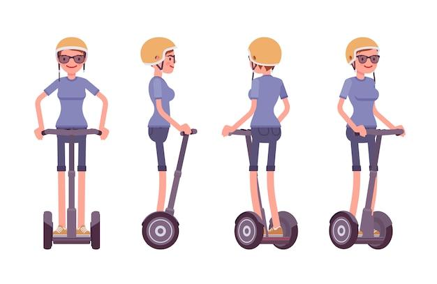 黒い電動スクーターに乗る女性