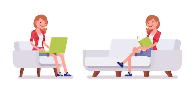 ミレニアル世代の女性、座りポーズのセット