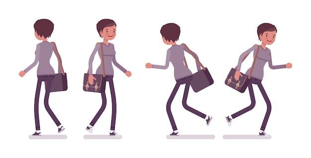 Набор молодой женщины в позе ходьбе и бега
