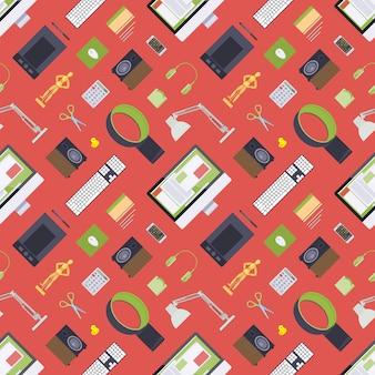 デジタルアーティストの職場からのアイテムとのシームレスなパターン