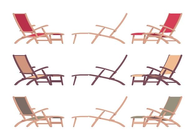 さまざまな色と位置に設定された寝椅子