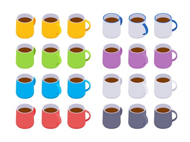 等尺性色のコーヒーマグカップのセット
