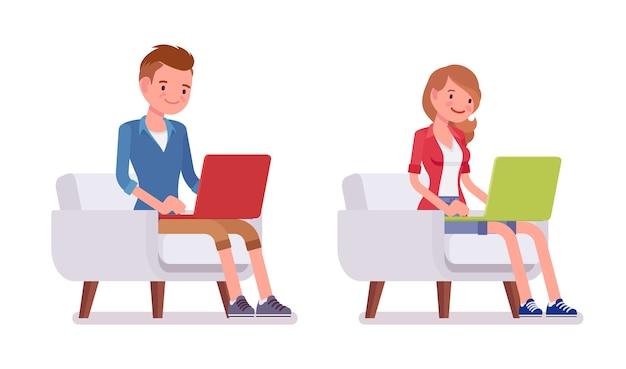 男性と女性のミレニアル世代、座りポーズのセット