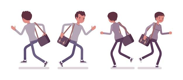Набор молодой мужчина и женщина в позе бега