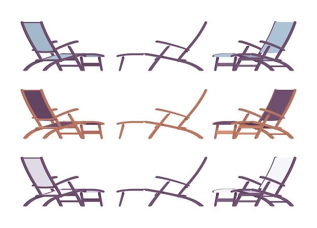 冷たい色と位置に設定された寝椅子