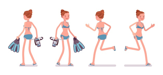 Ходьба и бег молодая женщина с набором маску и ласты