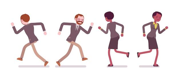 Набор мужской и женской учительницы бега, вид сзади, вид спереди