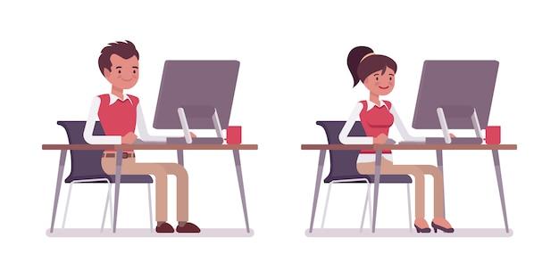 机に座っている男性と女性のオフィスワーカーのセット