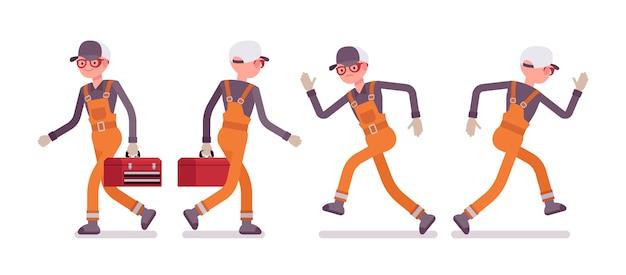 オレンジ色の摩耗、ウォーキング、ランニング、背面および正面の男性労働者のセット
