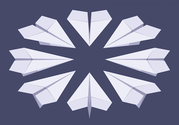 等尺性ホワイトペーパー飛行機のセット